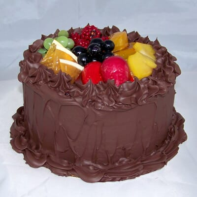 Fake Small Chocolate Frosted Cake with Fruit