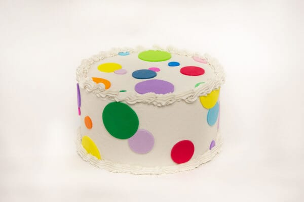 Fake Small Vanilla Frosted Cake with Multi-Color Polka Dots