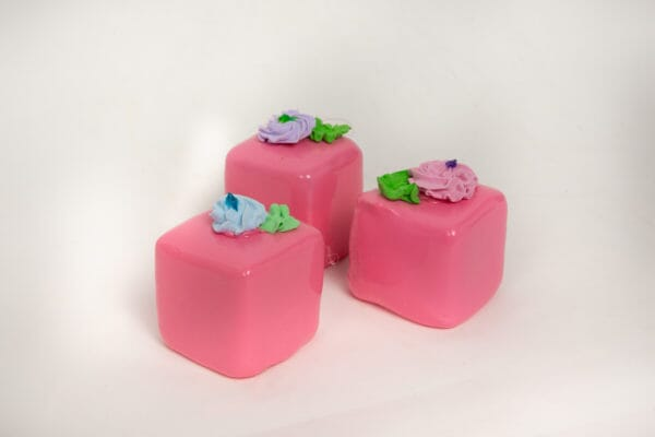 Fake Large Strawberry Petit Fours (Set of 3)