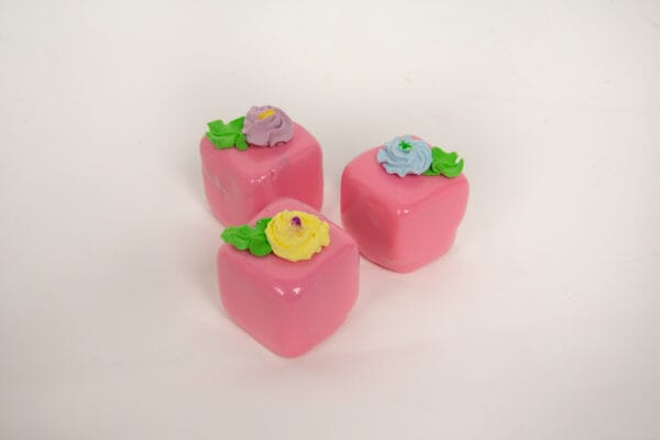 Fake Small Strawberry Petit Fours (Set of 3)
