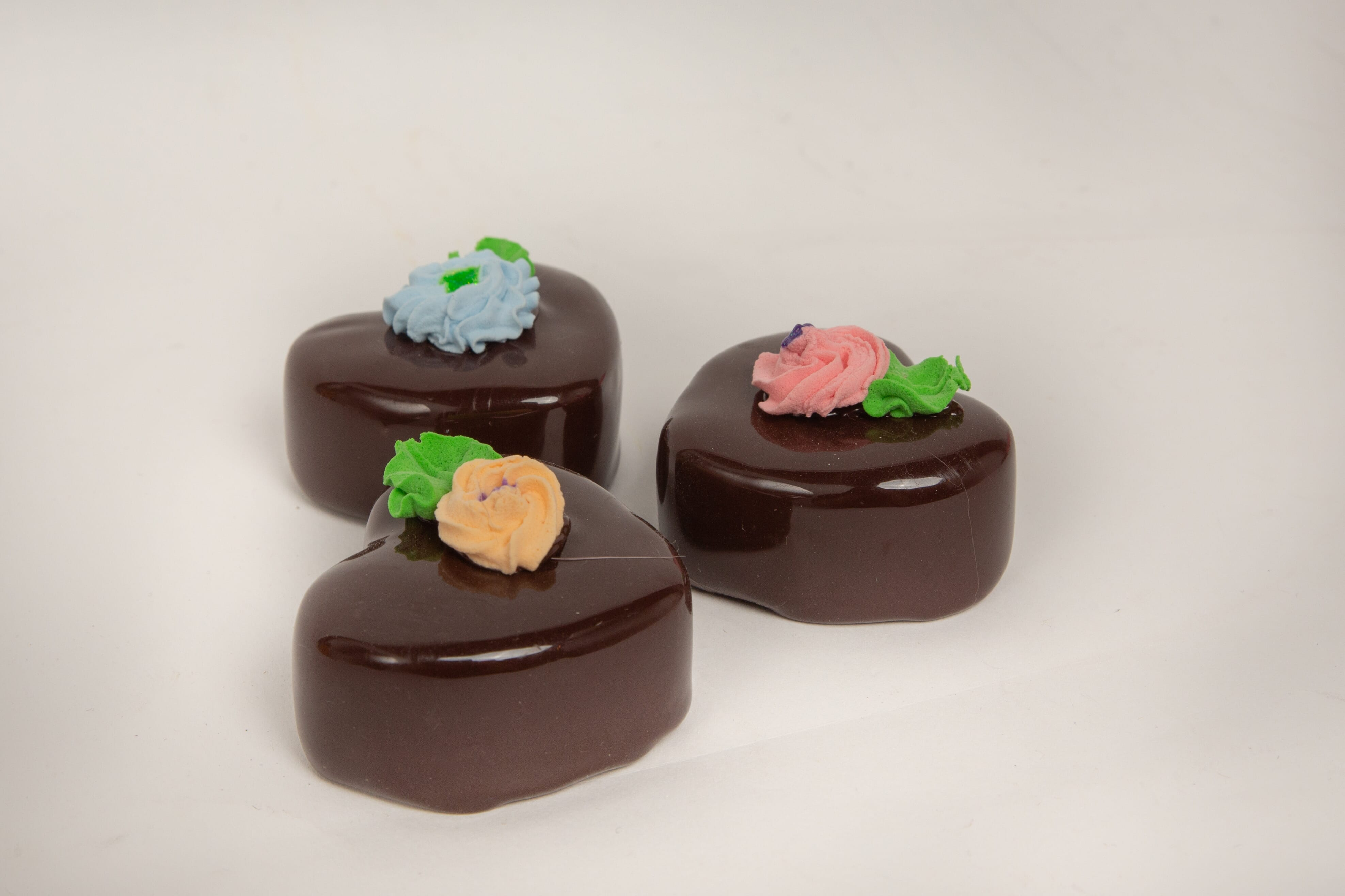 Fake Chocolate Heart Petit Fours (Set of 3)