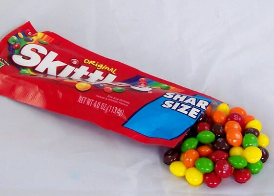 Spilled Bag of Fake Skittles (Individual Serving Size)