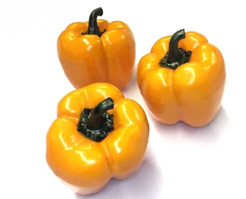 Artificial Orange Bell Peppers Set of 3 or 6