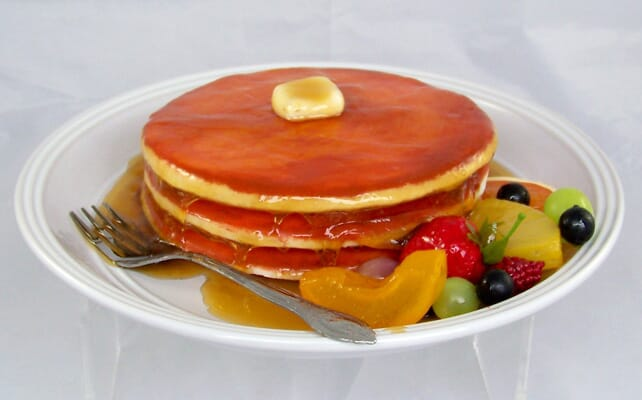 Plate of Fake Pancakes with Fruit