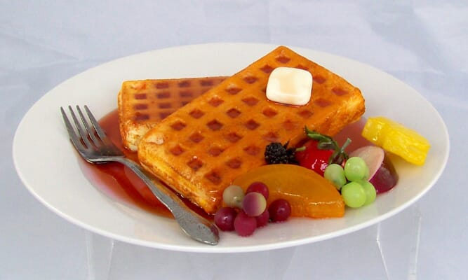 Plate of Fake Waffles with Fruit