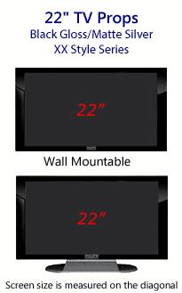 22 Inch Prop TVs Gloss Black & Matte Silver