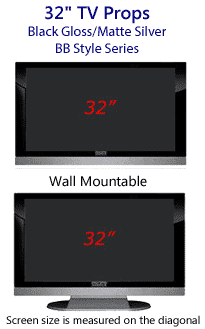 32 Inch TV Props - HDTV Style (with Bottom Speaker) in Gloss Black/Matte Silver