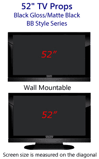 52 TV Props - HDTV Style (with Bottom Speaker) in Gloss Black/Matte Black